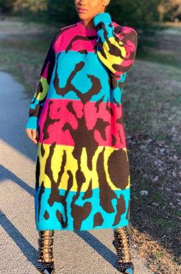 Printing Long Sleeve Round Neck Loose Long Dress AMM8291