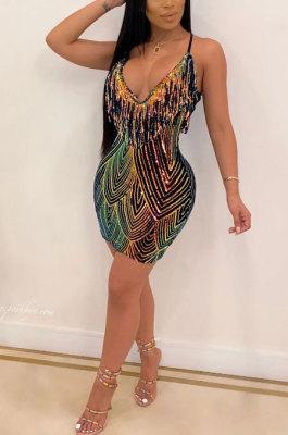 Sling Tassel A line Dress Club Sexy Dew Chest CCY8218
