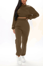 Casual Long Sleeve Round Neck Shirred Detail Fluffing Crop Top Long Pants Sets MMG8038