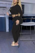 Sporty Embroidery Long Sleeve Waist Tie Hoodie Long Pants Sets CY3121