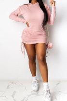 Ruffle Bind Long Sleeve Fleece Hooded Dress ATE5213