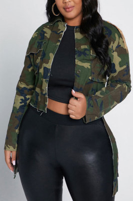 Camo Cultivate One's Morality Big Size Coat YF1346