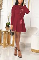 Sexy Long Sleeve Round Neck Spliced Back Strap Mini Dress SH7227