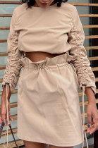 Long Sleeve Ruffle Fleece Above Knee / Short Skirt Sets ATE5212