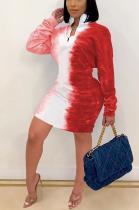 Sexy Long Sleeve Round Neck Gradient Printing Mini Dress SH7228