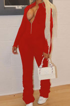 Sport Sexy Cultivate One's Morality Pure Color Zipper Ruffle Jumpsuit ABL6634