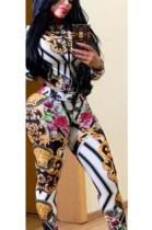 Casual Sporty Pop Art Print Long Sleeve Round Neck Utility Blouse Long Pants Sets YZ1875