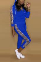 Street Style Long Sleeve Spliced Hoodie Tee Top Long Pants Sets A8583