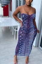 Modest Sexy Snake Skin Sleeveless Tube Dress MMS8015