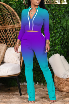 Cute Sporty Long Sleeve V Neck Utility Blouse Long Pants Sets X9267