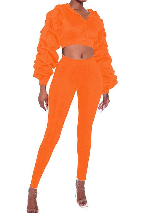 Long Sleeve Zipper Flounce Pure Color Long Pants Two-Piece AYS0029