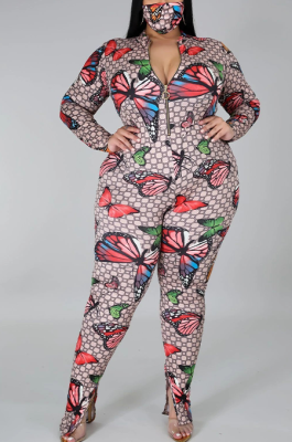 Casual Modest Animal Graphic Grid Print Long Sleeve Bodycon Jumpsuit