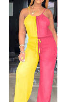 Casual Sleeveless Cold Shoulder Contrast Binding Waist Tie Cami Jumpsuit CL6057