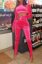 Casual Long Sleeve High Neck Crop Top Long Pants Sets X9270