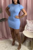 Casual Basics Simplee Short Sleeve Round Neck Midi Dress MOM5047