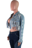 Casual Modest Long Sleeve Tassel Hem Denim Top JLX6039
