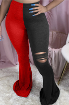 Casual Sexy Simplee Spliced Ripped High Waist Flare Leg Pants MOM5048