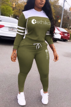 Sporty Letter Long Sleeve Knotted Strap Hoodie Tee Top Sweat Pants Sets OLY6019