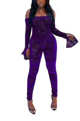 Rock Style Viscose Long Sleeve Strapless Bodycon Jumpsuit BM7141