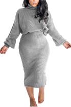 Sexy Long Sleeve High Neck Tank Top Midi Skirt Sets M1008