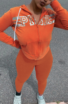 Casual Sporty Letter Long Sleeve Hoodie Sweat Pants Sets MLM9024