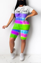 Casual Cute Tie Dye Letter Short Sleeve Round Neck Spliced Tee Top Shorts OX3018