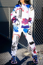 Casual Sporty Letter Pop Art Print Long Sleeve Hoodie Long Pants Sets MLM9027