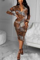 Sexy Leopard Camo Long Sleeve Midi Dress LML185
