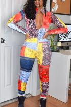 Multi Casual Polyester Pop Art Print Long Sleeve V Neck Jumpsuit MLM9005