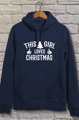 Christmas Casual Letter Long Sleeve Slant Pocket Hoodie WT20221