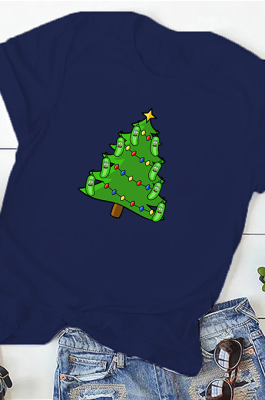 Casual Christmas Tree Simplee Short Sleeve Round Neck Tee Top WT20222