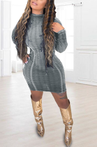 Casual Sexy Long Sleeve Round Neck Hollow Out Mini Dress JC7035