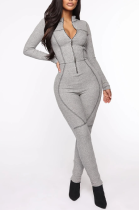 Sexy Long Sleeve Round Neck Zippers Bodycon Jumpsuit JC7036