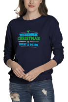 Casual Letter May Your Christmas Graphic Long Sleeve Round Neck Tee Top WT20245