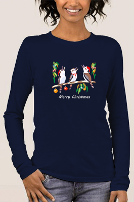 Casual Merry Christmas Animal Graphic Long Sleeve Round Neck Tee Top WT20175