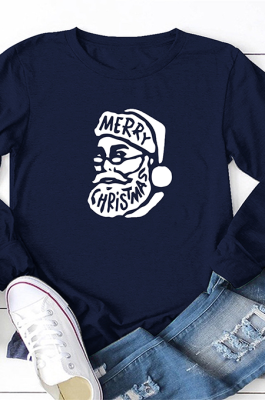 Casual Santa Prints Merry Christmas Long Sleeve Round Neck Tee Top WT20176