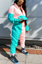 Casual Cute Sporty Long Sleeve High Neck Spliced Long Pants Sets NRS8028