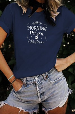 Christmas Casual Letter Short Sleeve Cold Shoulder Tee Top WT20310