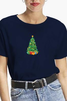 Casual Christmas Tree Cartoon Graphic Short Sleeve Round Neck Tee Top WT20179