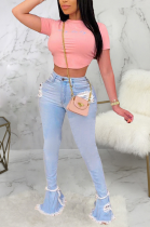 Casual Spliced Tassel Hem Flare Leg Pants Slight Stretch Jeans SMR2277-2