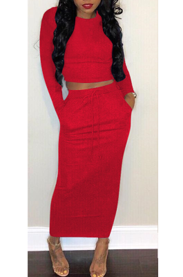 Sexy Long Sleeve Round Neck Spliced Tee Top Midi Skirt Sets H1258