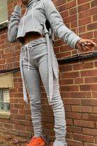 Casual Long Sleeve High Neck Self Belted Waist Tie Tee Top Long Pants Sets H1568