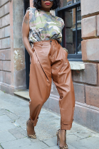 Casual Pu Leather Buttoned Slant Pocket Carrot Pants AWL5812