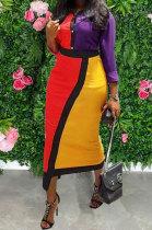 Fashion Casual Womenswear Multicolor Spliced Dress MDF5187