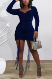 Sexy Simplee Long Sleeve Scoop Neck Shirred Detail Mini Dress YY5238