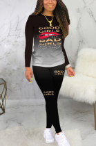Casual Simplee Letter Long Sleeve Round Neck Long Pants Sets BLE2195