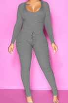 Autumn Winter Pure Color Sexy Cultivate One's Morality Jumpsuits Club Suit ATE5215