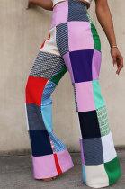 Fashion Casual Womenswear Digital Printing Plaid Casual Pants MDF5186