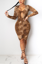 Sexy Leopard Long Sleeve Scoop Neck Hollow Out Ruffle Midi Dress ED8328