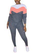 Casual Simplee Long Sleeve Round Neck Spliced Long Pants ED8327